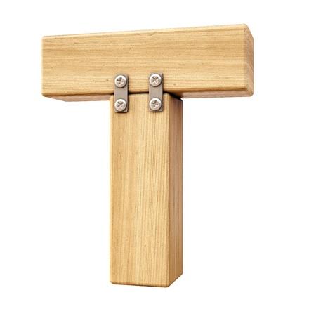 Alfabet van hout. Geïsoleerd op wit.