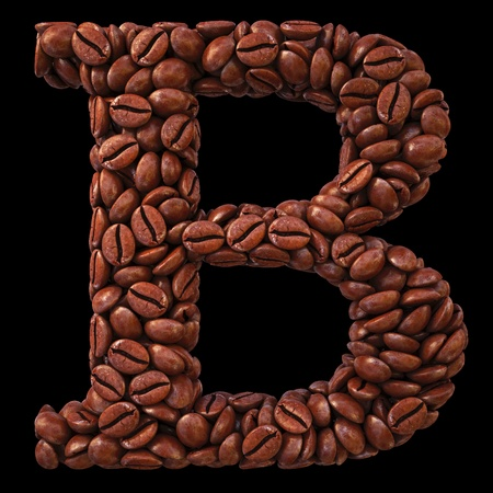 Alphabet B from coffee beans. isolated on black. photo