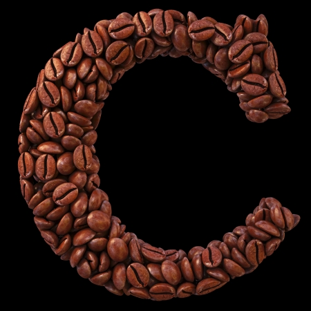 Alphabet C from coffee beans. isolated on black. Stock Photo - 18466035