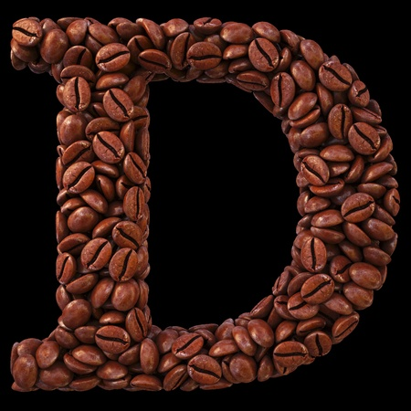 Alphabet D from coffee beans. isolated on black. photo