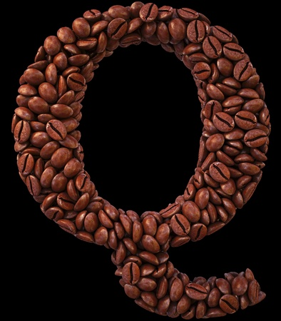 Alphabet Q from coffee beans. isolated on black. photo