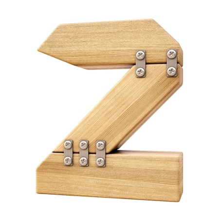number Z from wood. isolated on white. photo