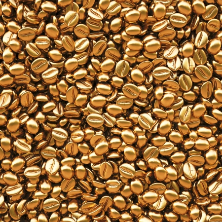 raw gold: Background from golden coffee beans. 3d image. Stock Photo