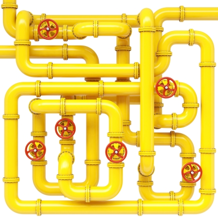 maze of gas pipes. Isolated on white. Stock Photo