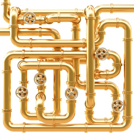 valves: maze of golden pipes. Isolated on white.