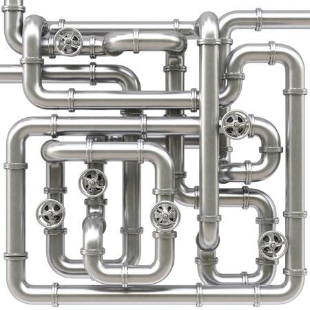laberinto: laberinto de tubos de metal. Aislado en blanco.