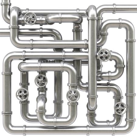 industrial objects equipment: maze of metal pipes. Isolated on white.