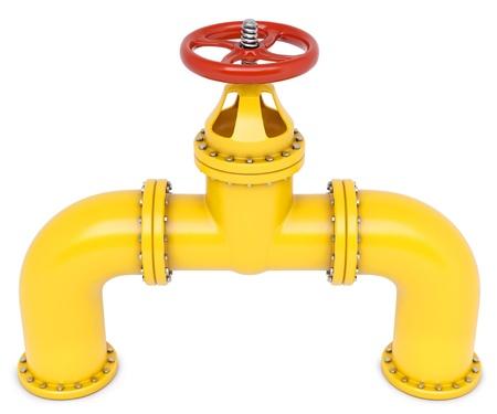 黄色いガス管。白で隔離。 写真素材