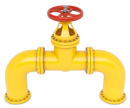 yellow gas pipes. Isolated on white.