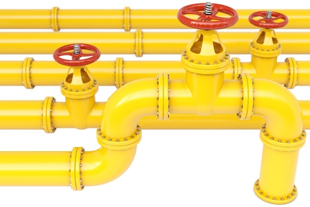 natural gas: yellow gas pipes. Isolated on white.