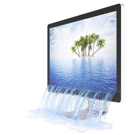 wide screen: Water flowing out of the monitor. Isolated on white.