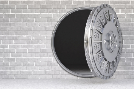 bank vault: the open door of a bank vault. Stock Photo