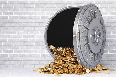 open a bank vault with a bunch of gold coins. Stock Photo