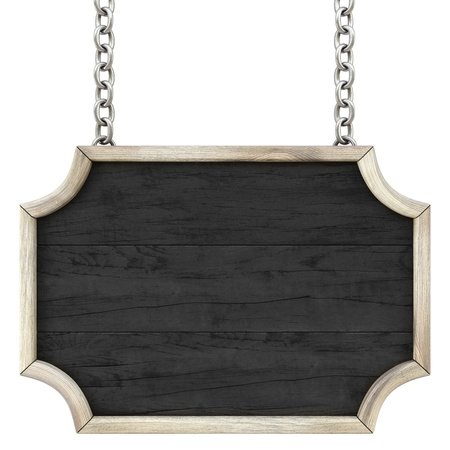wooden plaque: wooden signboard on the chains. Isolated on white.