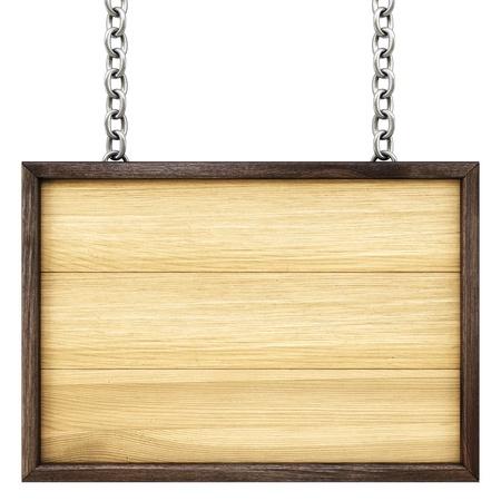 チェーンの木製看板。白で隔離。