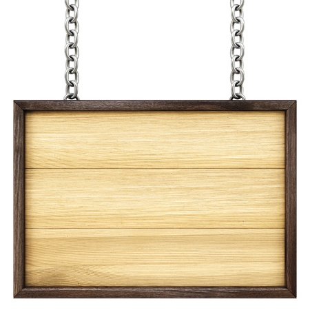 wooden signboard on the chains. Isolated on white.