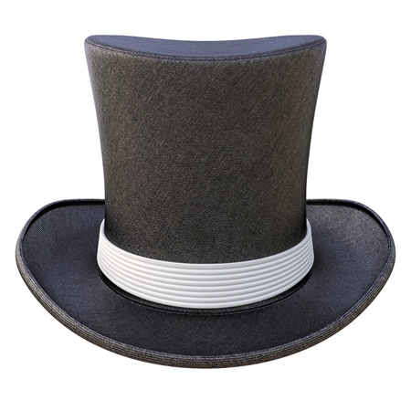 black hat: Black cylinder hat with white ribbon. isolated on white. Stock Photo