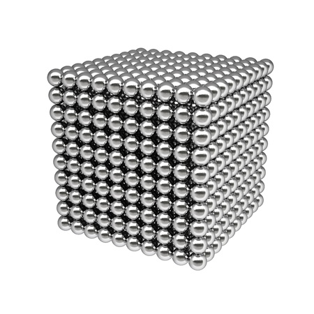 silver balls: box from silver balls. Isolated on white.