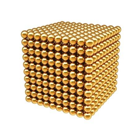 3d image: box from golden balls. Isolated on white. Stock Photo