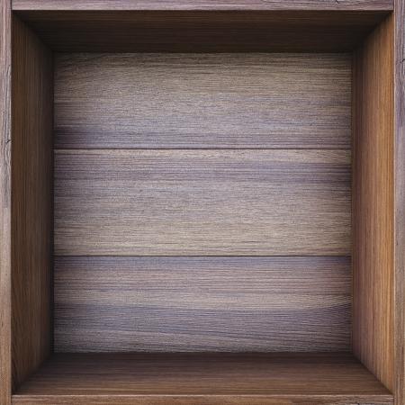 empty shelf: empty wooden box. Stock Photo