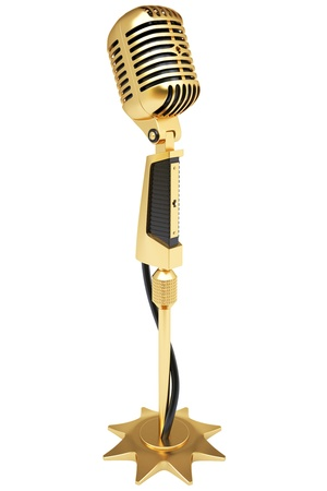 vintage golden microphone. isolated on white. Imagens