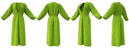 bathrobe: robe made of green grass. isolated on white. Stock Photo