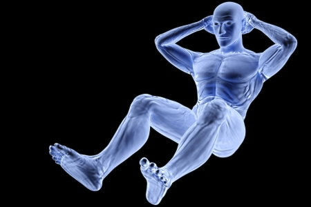 x ray image: male athlete under the X-rays Stock Photo