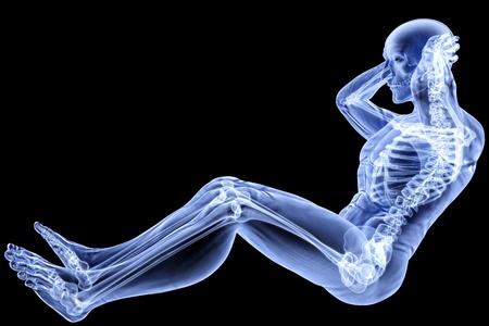 scheletro umano: atleta di sesso maschile sotto i raggi X Archivio Fotografico