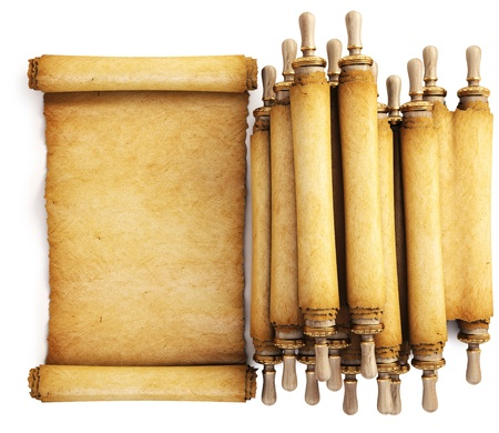 rolled: Ancient paper scroll. Isolated on white.