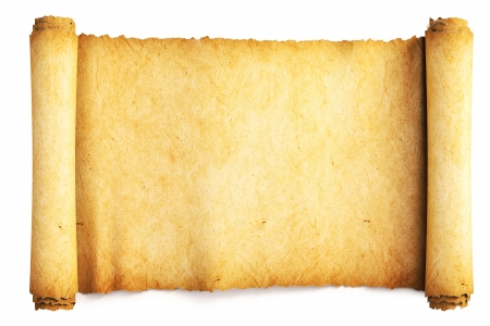 manuscript on parchment: Ancient paper scroll. Isolated on white.