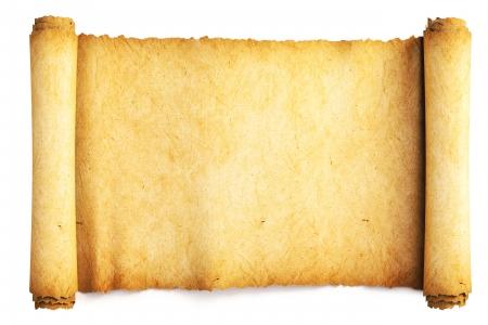 pergamino: Rollo de papel antiguo. Aislado en blanco.