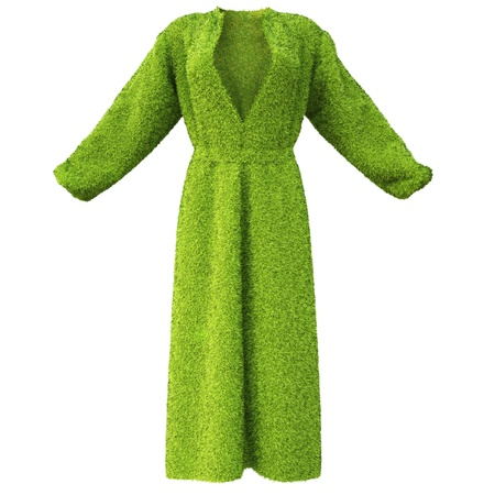 robe: robe made of green grass. isolated on white. Stock Photo