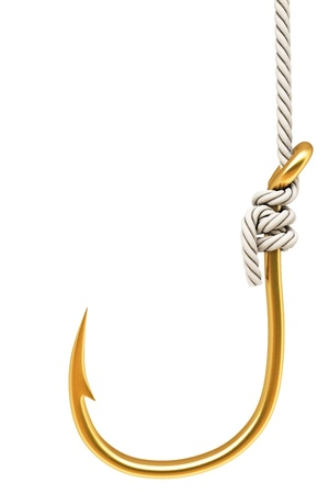 fishhook: gold hook on the rope. Isolated on white.