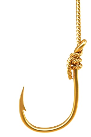 gold hook on the rope. Isolated on white. photo