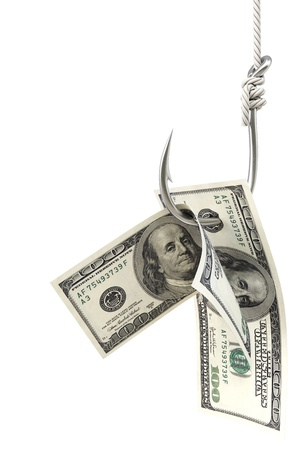 dollar bills on a fishing hook. Isolated on white.