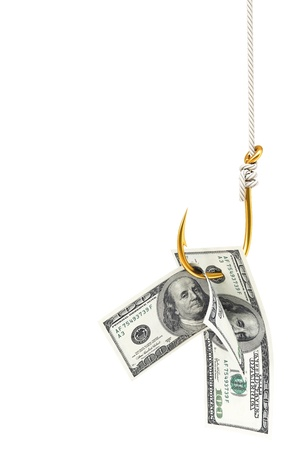 debt trap: dollar bills on a fishing hook. Isolated on white.
