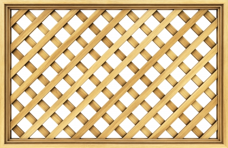 wooden lattice. Isolated on white. photo