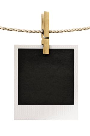 Photo frames on the rope. isolated on white.