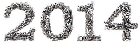 fasteners: new 2014 year from the nuts and bolts. isolated on white. Stock Photo
