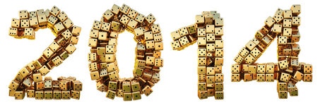 new 2014 year from the golden dice. isolated on white. photo