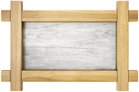 Vintage wooden frame. isolated on white. photo