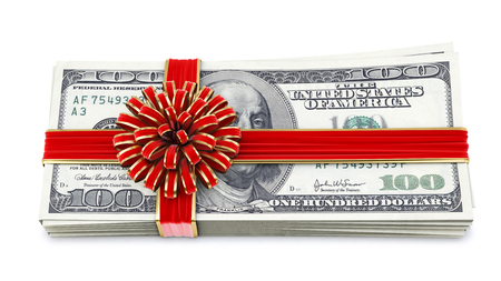 Money tied red ribbon with bow  Isolated on white Stock Photo - 23241729