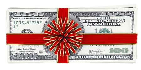 Money tied red ribbon with bow  Isolated on white  Stock Photo - 23241733
