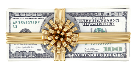 Money tied golden ribbon with bow  Isolated on white Stock Photo - 23241738