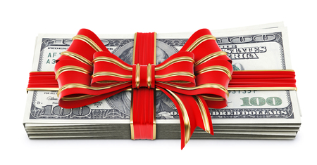 Money tied red ribbon with bow  Isolated on white  Stock Photo - 23241742