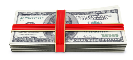 Money tied red ribbon with bow  Isolated on white Stock Photo - 23241743