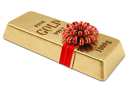 gold bullion tied red ribbon with bow  isolated on white background  photo