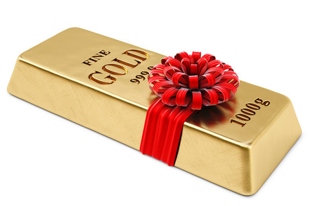 gold ingot: gold bullion tied red ribbon with bow  isolated on white background