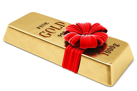 gold bar: gold bullion tied red ribbon with bow  isolated on white background