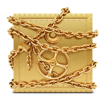 golden safe in chains  isolated on white background  photo